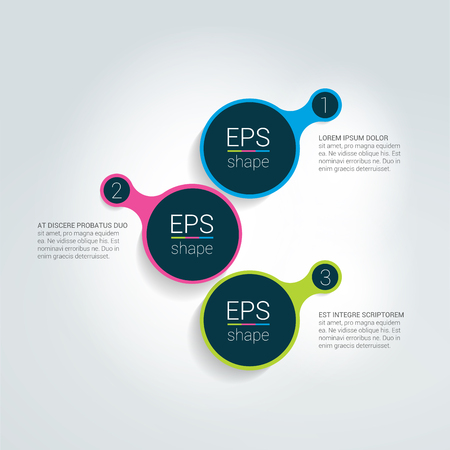 data centers: Round shape step by step template. Simply color scheme, diagram.