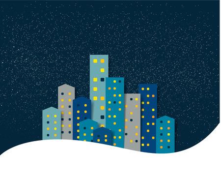 City, town night winter snow panorama. Background.