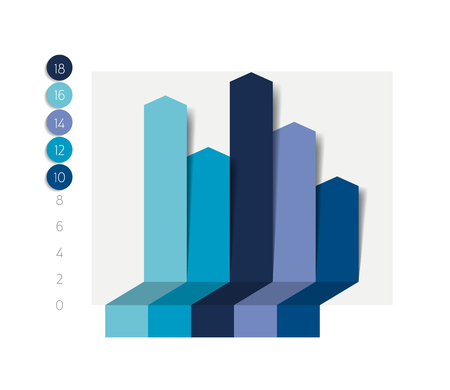 chart graph: Flat chart, graph with shadows effect. Simply editable color. Infographics elements.