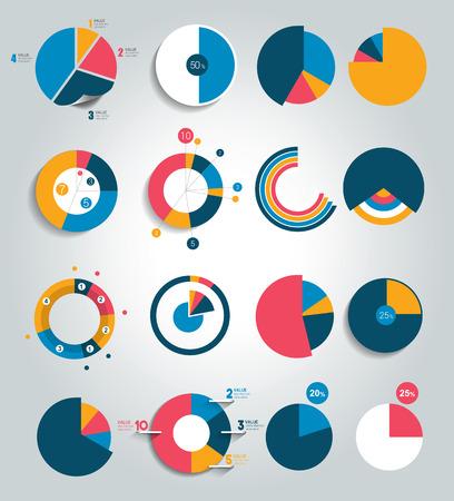 라운드, 원형 차트, 그래프의 큰 집합입니다. 간단하게 편집 가능한 색상. 인포 그래픽 요소.
