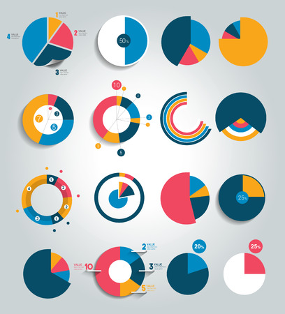 graph report: Big set of round, circle chart, graph. Simply editable color. Infographics elements.