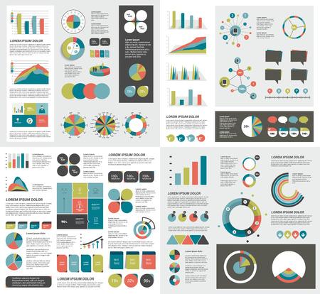 인포 그래픽 요소 차트, 그래프, 원 그래프, 다이어그램, 연설 거품의 메가 세트. 평면 및 3D 디자인. 벡터. 일러스트