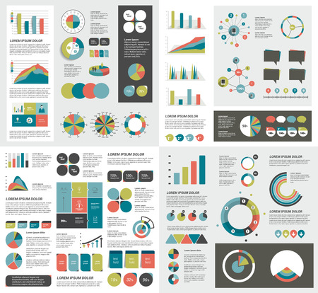 graficas de pastel: Mega conjunto de tablas de elementos de infografía, gráficos, tablas, diagramas circulares, bocadillos de texto. Diseño plano y 3D. Vector. Vectores