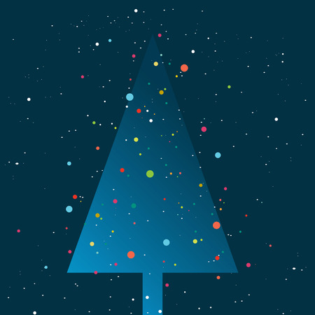 night lights: Christmas tree lights. Snow flakes falling in the night. Simply flat design.