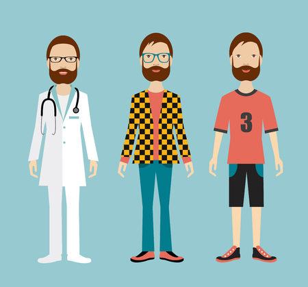 casual business man: Man outfits business office, casual and sport. flat illustration. Illustration