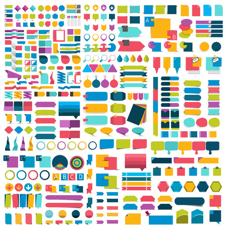 square buttons: Mega set of flat infographics design elements, schemes, charts, buttons, speech bubbles, stickers. Vector illustration.