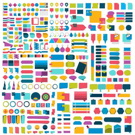 Mega set van platte infographics design elementen, schema's, grafieken, knopen, tekstballonnen, stickers. Vector illustratie.