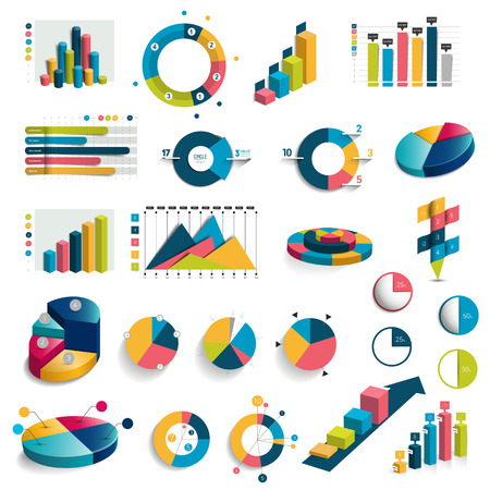 grafica de barras: Mega conjunto de cuadros, gráficos, tablas círculo. Diseño plano y 3D. Vector. Vectores