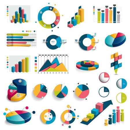 Mega set van tabellen, grafieken, grafieken cirkel. Vlakke en 3D-ontwerp. Vector. Stock Illustratie