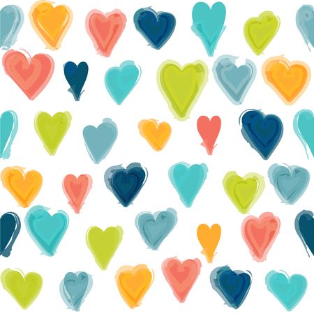 wall paper: Water painted heart seamless pattern. Isolated  background, wall paper. Illustration