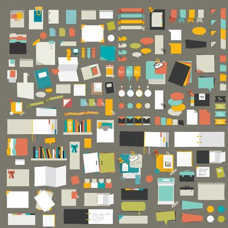 Infographics 요소, 스티커, 종이의 큰 집합입니다.