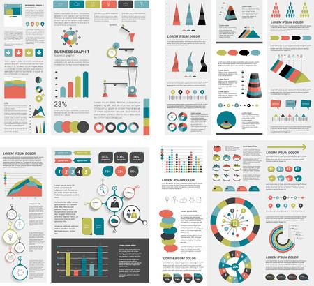 graficas de pastel: Mega conjunto de elementos infográficos. Vectores