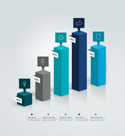 bar charts: gráfico de 3D, gráfico. Vectores