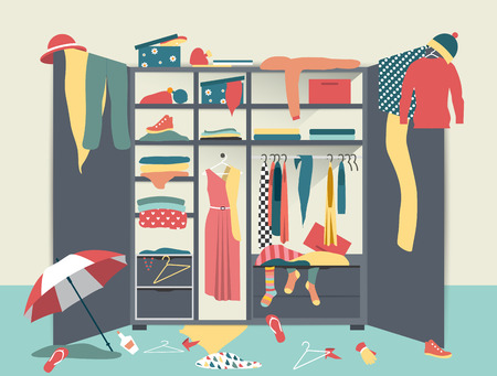 Open wardrobe. White closet with untidy clothes, shirts, sweaters, boxes and shoes. Home interior mess. Flat design illustration.