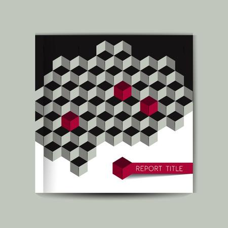 La página de cubierta del folleto. cubo 3D gris de la plantilla.