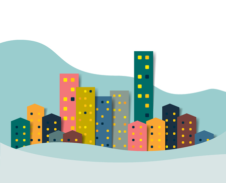 Paper City, Town winter snow panorama. Christmas Background. Illustration