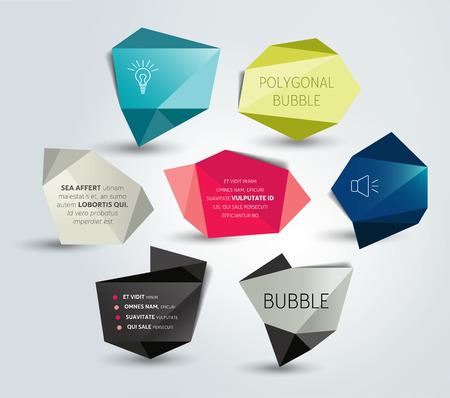 speech bubble: Speech bubble label set. Polygonal design. Vector. Illustration