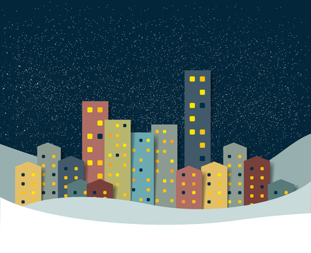 City, town night winter snow panorama. Christmas Background. Illustration