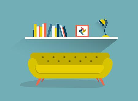 interior design home: Retro sofa and book shelf with lamps. Flat design vector illustration.