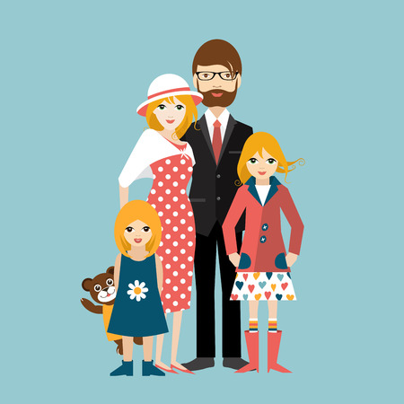 little man: Family with two little daughter. Man and woman in love, relationship. Flat vector.