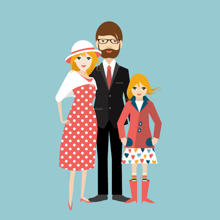 family man: Family with little daughter. Man and woman in love, relationship. Flat vector. Illustration