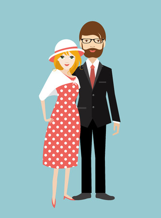 Family. Man and woman in love, relationship. Flat vector. Vektorové ilustrace