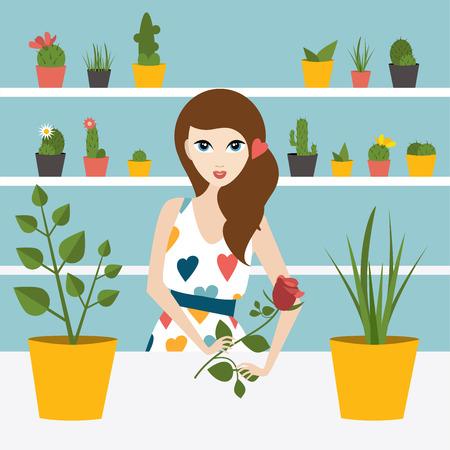 clerks: Florist sales woman in flower store. Flat design. Illustration