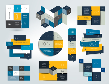 Collections of info graphics flat design diagrams. Various color schemes, boxes, speech bubbles for print or web design. Vector illustration. Illustration