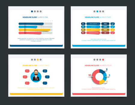 graficas de pastel: 4 business presentation templates. Infographics for leaflet, poster, slide, magazine, book, brochure, website, print.