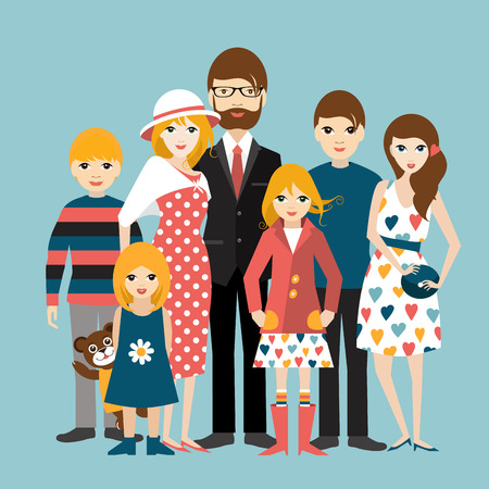 big woman: Big family with many children. Man and woman in love, relationship. Flat vector. Illustration