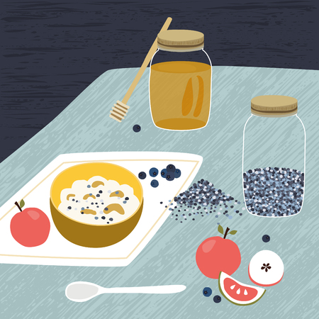 rustical: Oat cereals granola with honey and fresh blueberries. Rustical cartoon illustration. Top view. Illustration