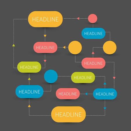 flujo: Flujo esquema de cartas. Infografía elementos. Diseño del vector.