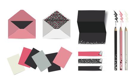 mock up: Vector corporate identity paper mock up. Flat design illustration.
