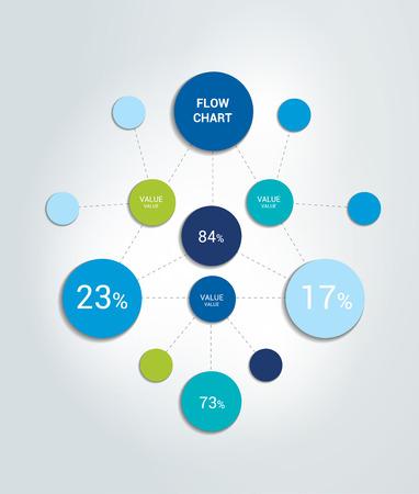 Infographics flow chart. Circle net. Colored shadows scheme.