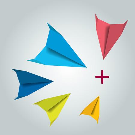 Paper fly vector concept. Vektorové ilustrace