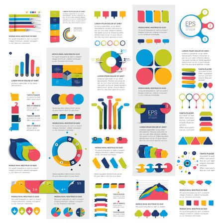 Mega Set van business design 3D-grafieken, tabellen, sjablonen, regelingen.