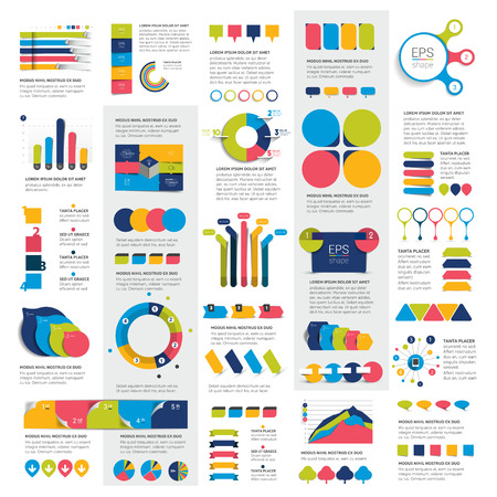 Mega Set of business design 3D graphs, charts, templates, schemes. Illustration