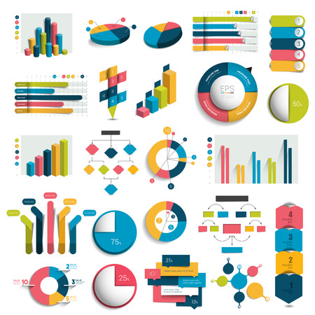 grows: Mega Set of business design 3D graphs, charts, templates, schemes. Colummn, cubes, circle design. Infographics.