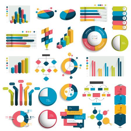 Mega Set van business design 3D-grafieken, tabellen, sjablonen, regelingen. Colummn, kubussen, cirkel design. Infographics.
