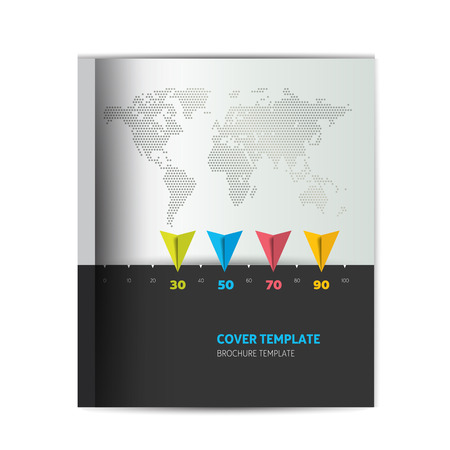 stipe: Brochure cover template. Simply black ang gray design with world map. Infographic. Illustration