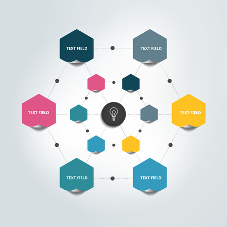 relationships: Flowchart Infographic. Color chart circles. Illustration