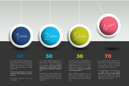 inforgraphic: Infographic vector banner with option pendulum. Color spheres, balls, bubbles. Infographic template.