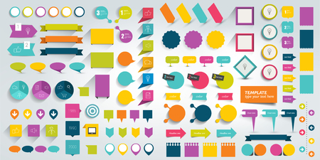schemes: Mega set of flat infographics design elements, schemes, charts, buttons, speech bubbles, stickers. Vector illustration.