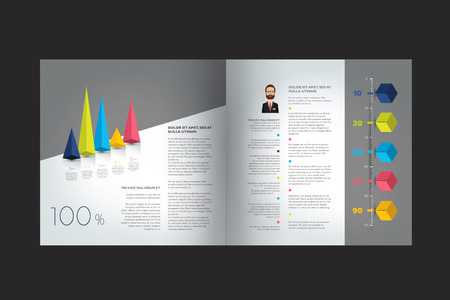 page design: Text page, brochure, flyer template. Simply design. Vector. Illustration