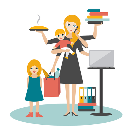 baby mother: Multitask woman. Mother, businesswoman with baby, older child, working, coocking and calling. Flat vector.