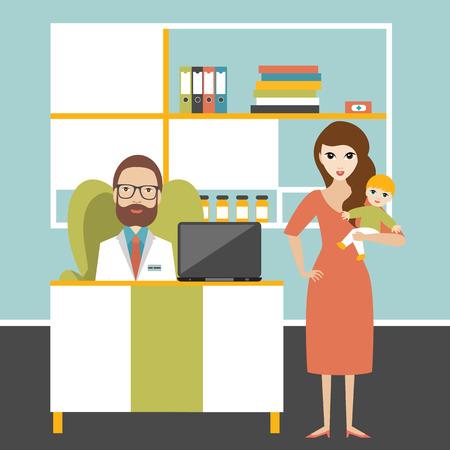 hospital caricatura: Doctor y peque�o paciente iwith madre en oficina de la cirug�a. cl�nica pedi�trica. ilustraci�n vectorial de dibujos animados plana.