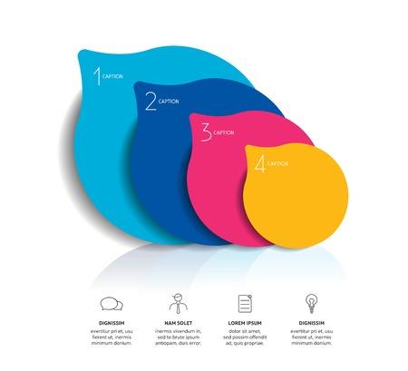 steppe: Circle infographics options banner, template, scheme, chart. Four step design. Vector illustration.