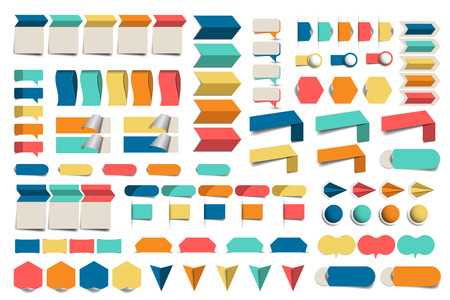schemes: Mega set of infographics flat design elements, schemes, charts, buttons, speech bubbles, stickers. Vector illustration. Illustration