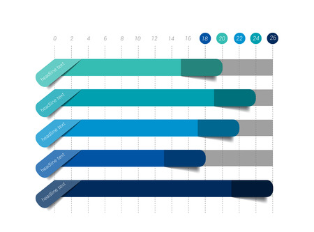 annual report: Flat chart, graph. Simply blue color editable. Infographics elements. Illustration