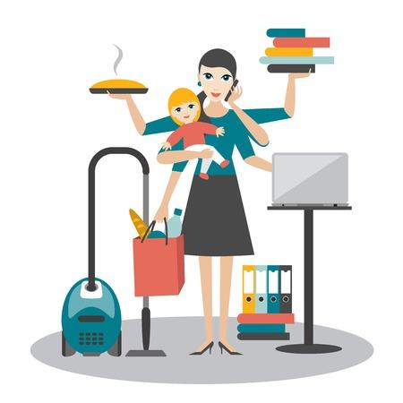 senhora: Multitask mulher. Mãe, mulher de negócios com o bebê que trabalha, coocking e chamando.